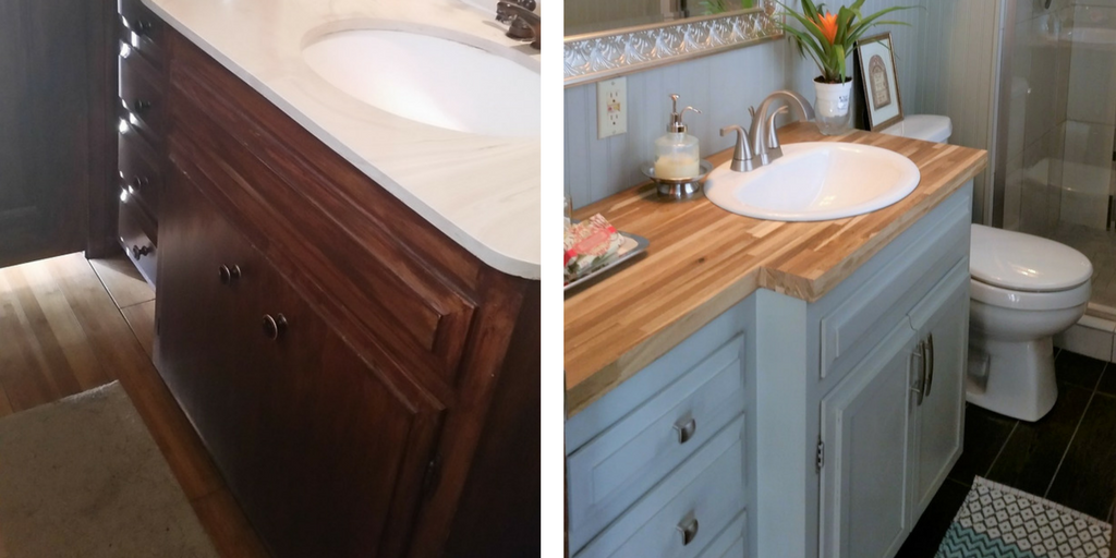 How to magically change your old bathroom vanity - How to replace a bathroom vanity ...